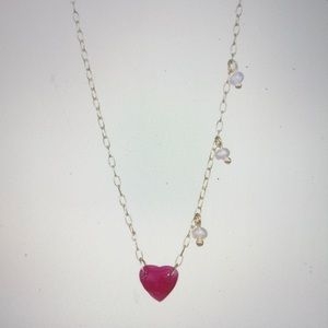 Meira T. 14k Gold Ruby Heart & Pearl Necklace
